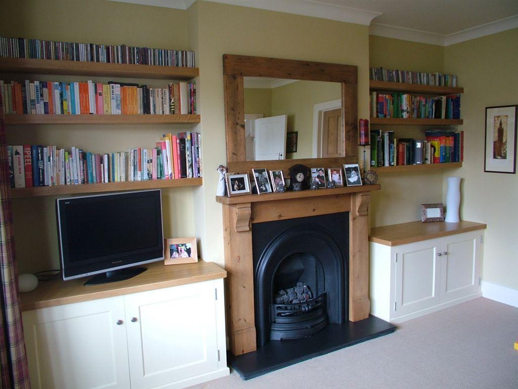 Alcove units custom alcove units bookcases in ireland for Oak shelving units living room