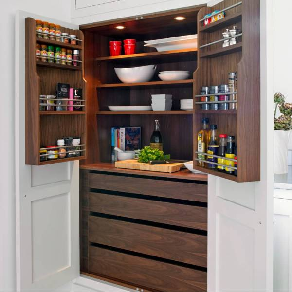 dark wood kitchen storage