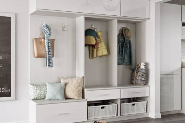 open wardrobe with storage baskets